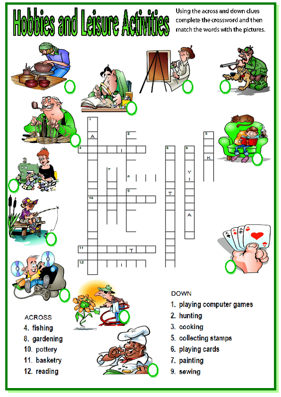 very easy crossword puzzles hobbies