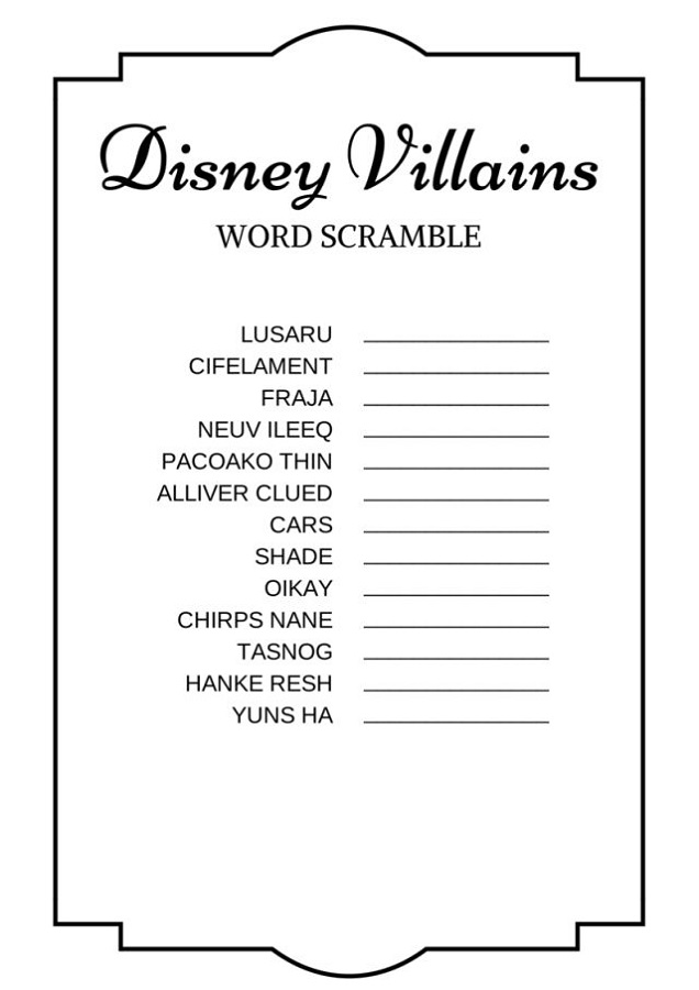 word scramble for kids disney