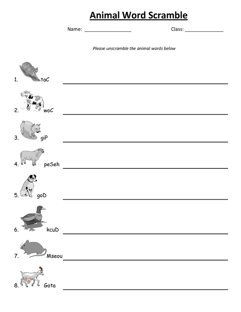 word scrambles for kids animal