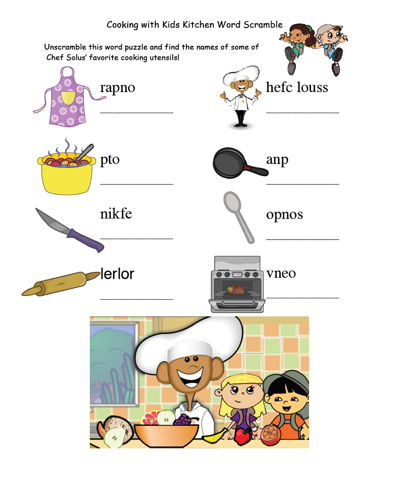 word scrambles for kids kitchen