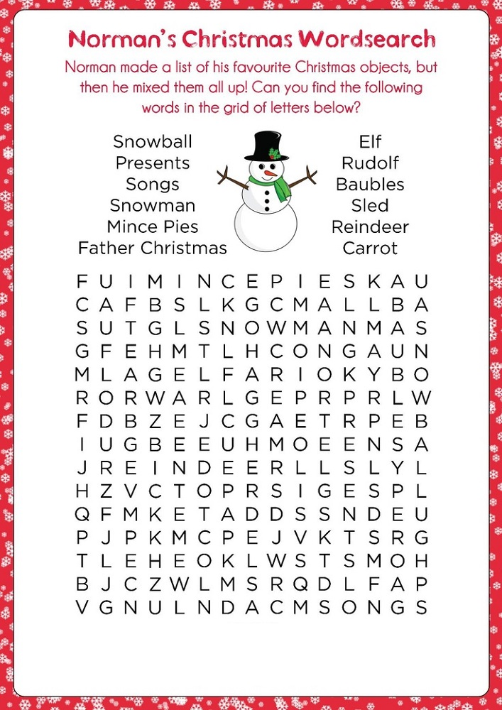 word search puzzle for kids christmas