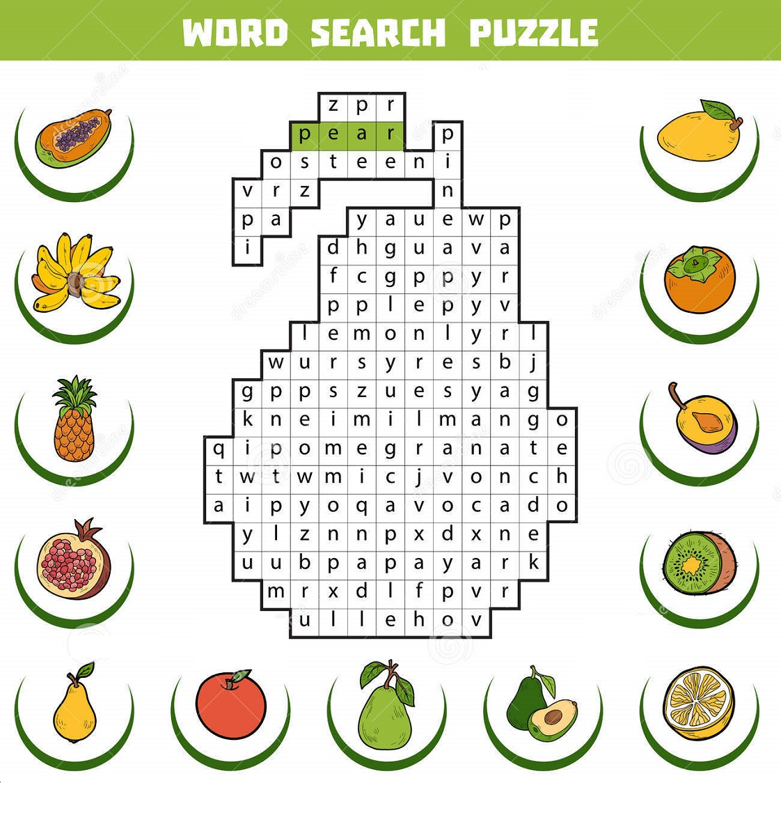 word search puzzle for kids fruits