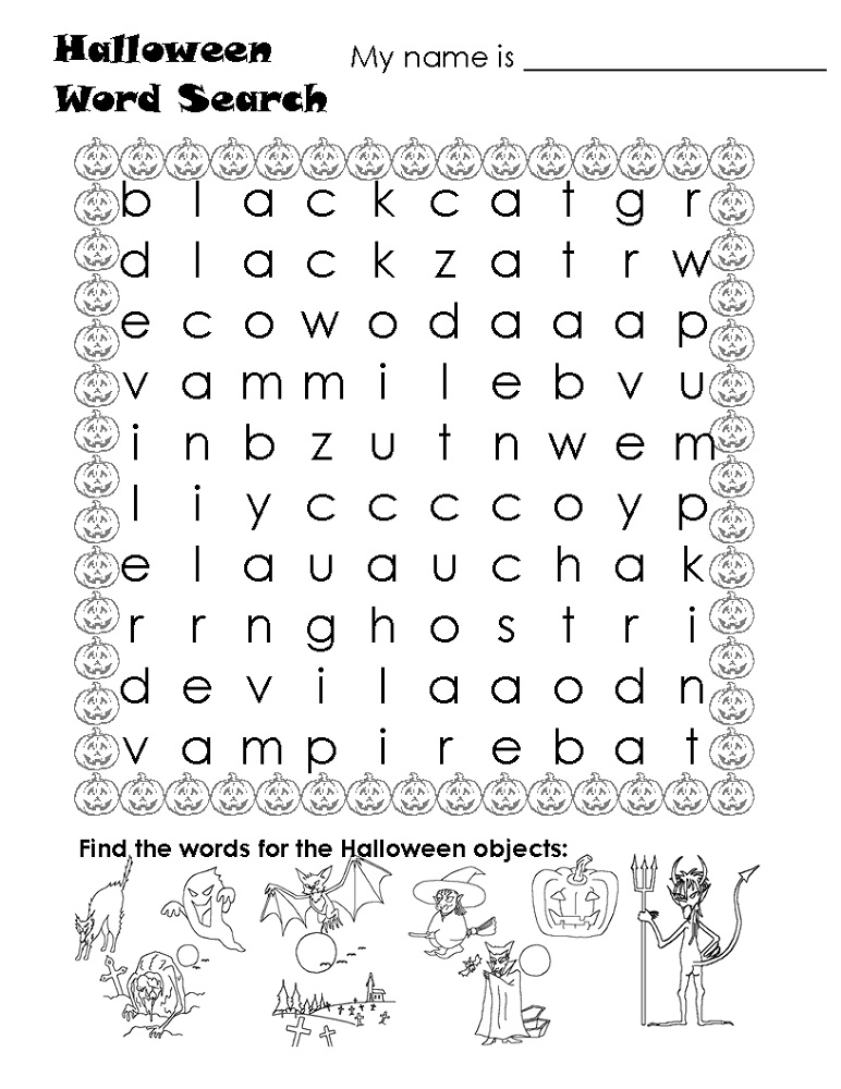 word search puzzle for kids halloween