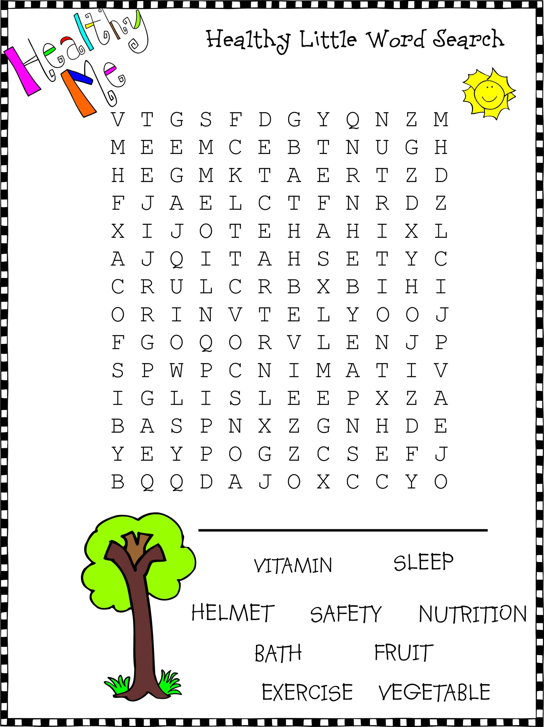word searches for kids healthy