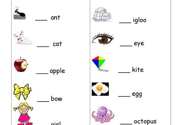 A An the Worksheets for Kindergarten