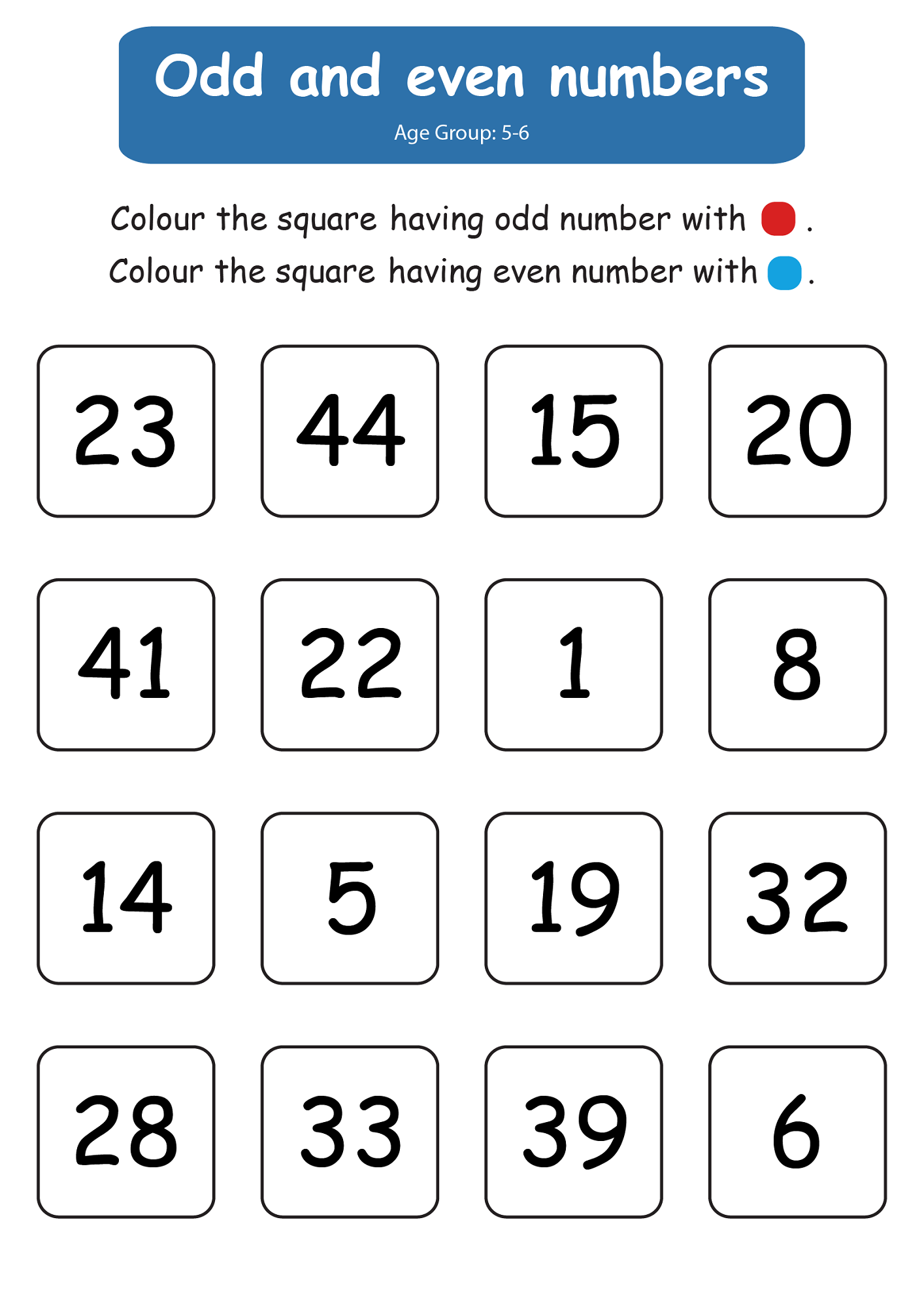 even and odd number worksheets free