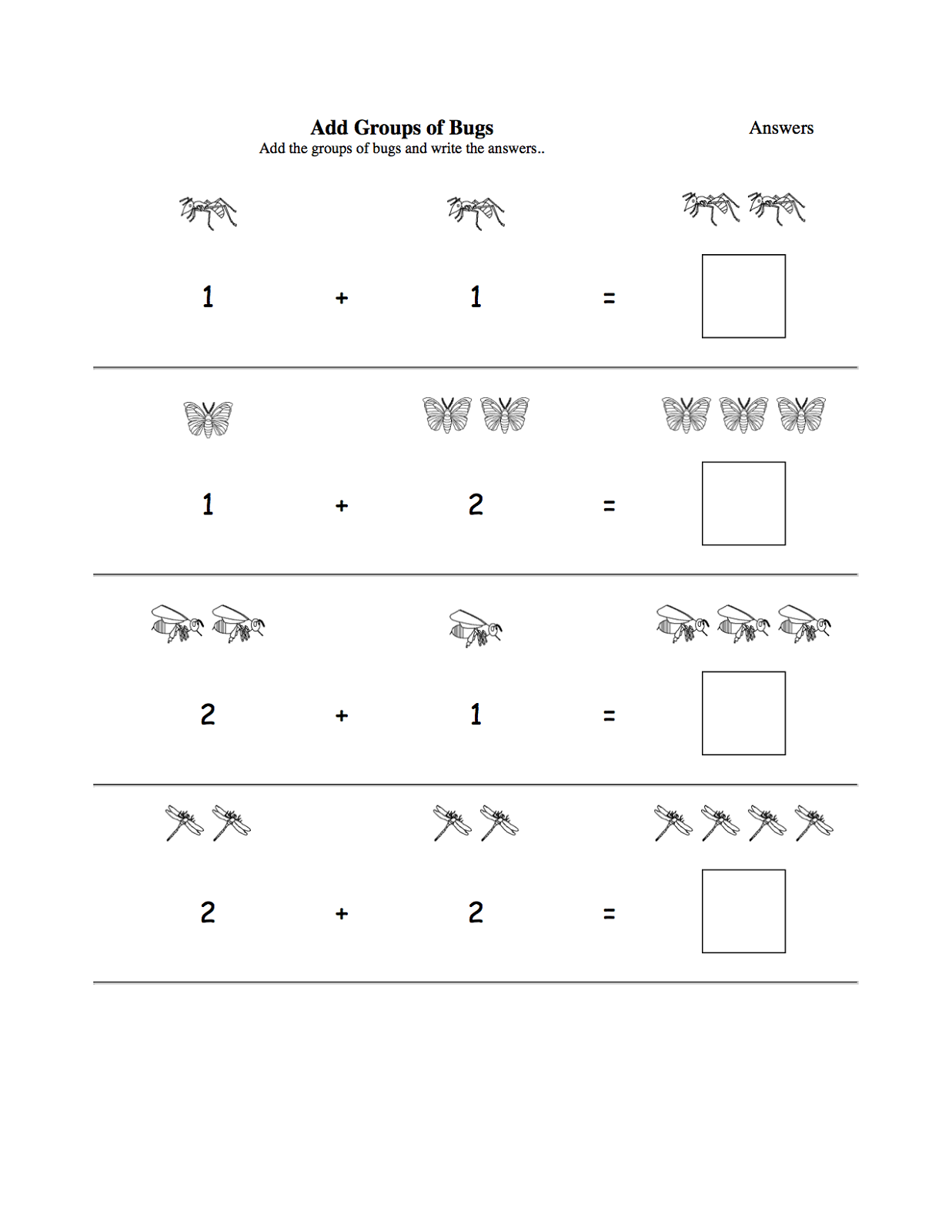 Animal Addition Worksheet