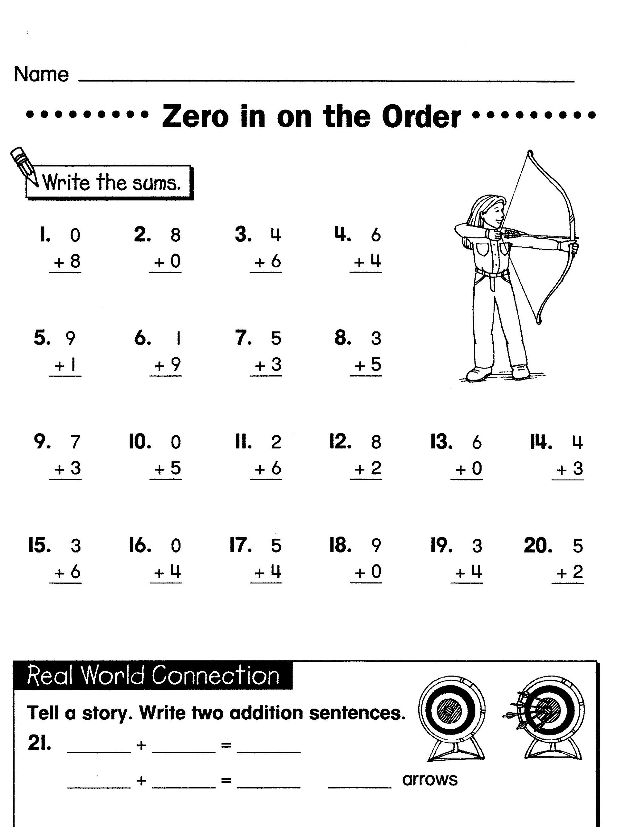 Easy Math Worksheet for Grade 1