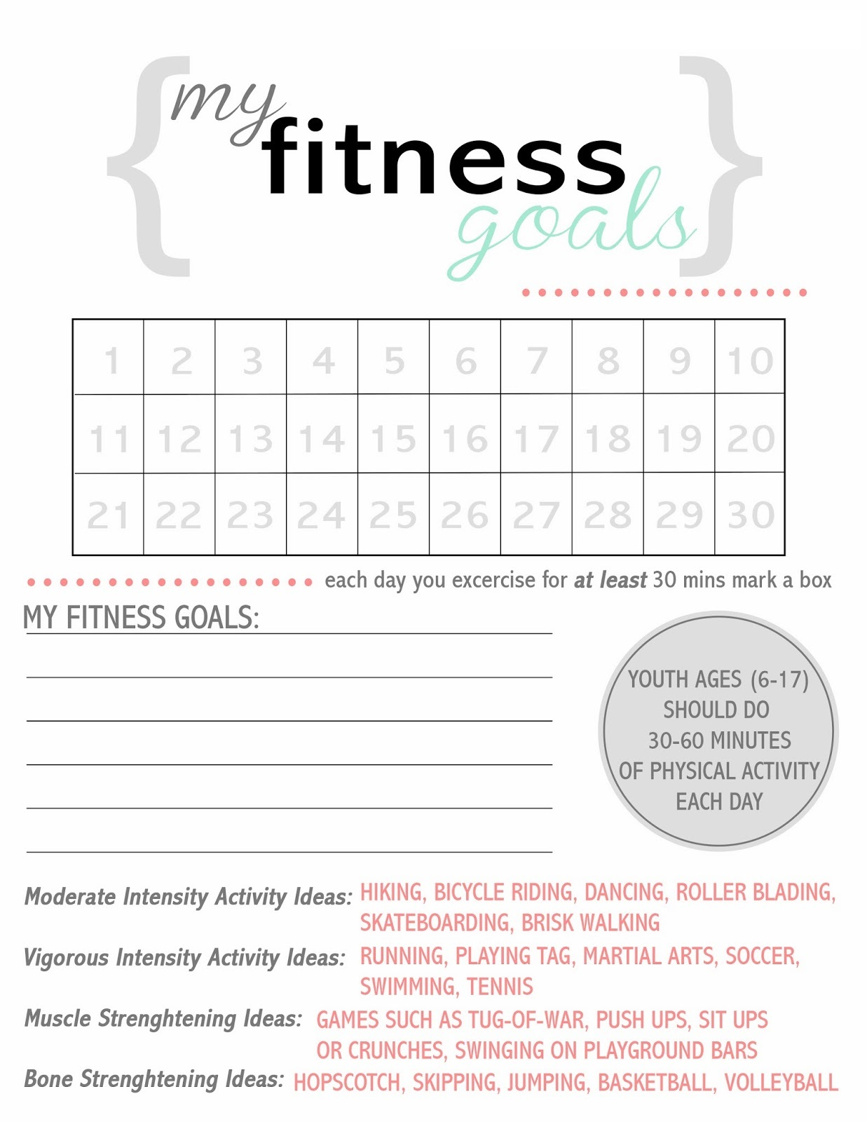 Exercise Worksheets Fitness