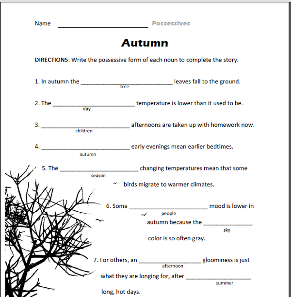 Free English Worksheets Autumn