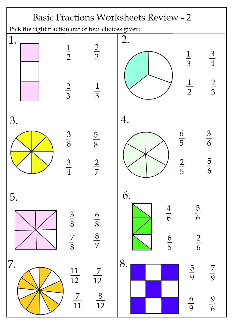 Free Fraction Worksheets Basic