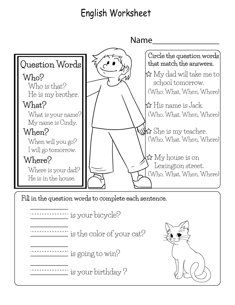 Free Printable English Worksheets Question