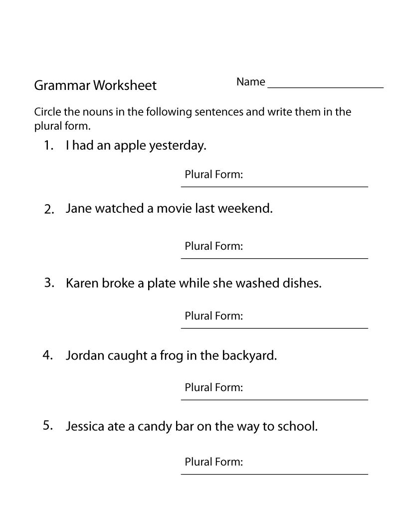Free Printable Grammar Worksheets Sentences