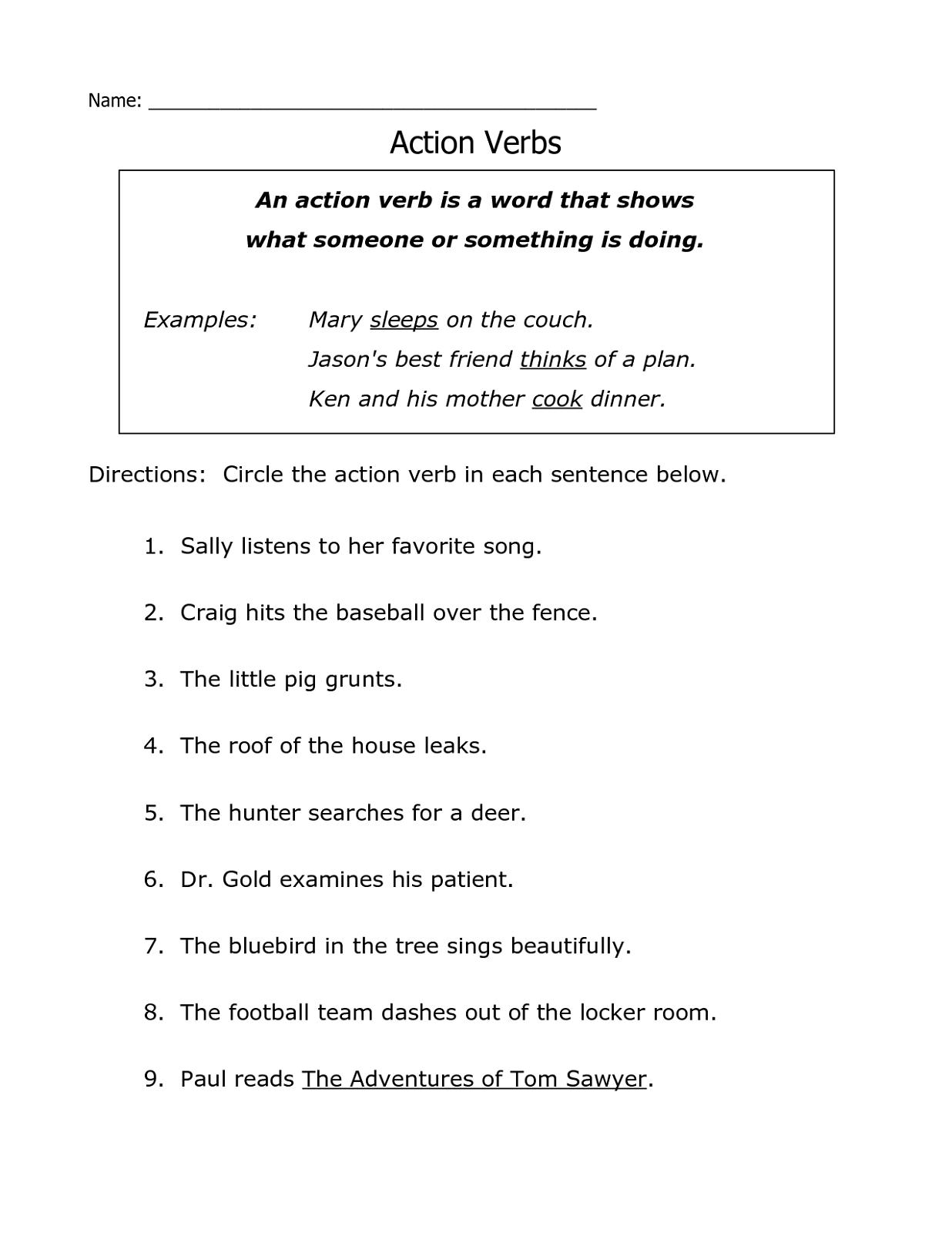 Free Printable Grammar Worksheets Verb