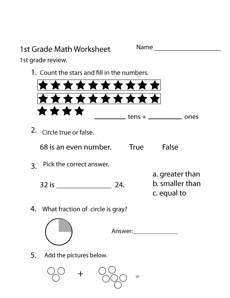 Free Printable Worksheets for Grade 1 Math