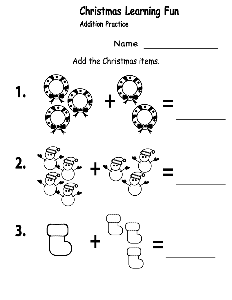 Free Printables for Kindergarten Addition