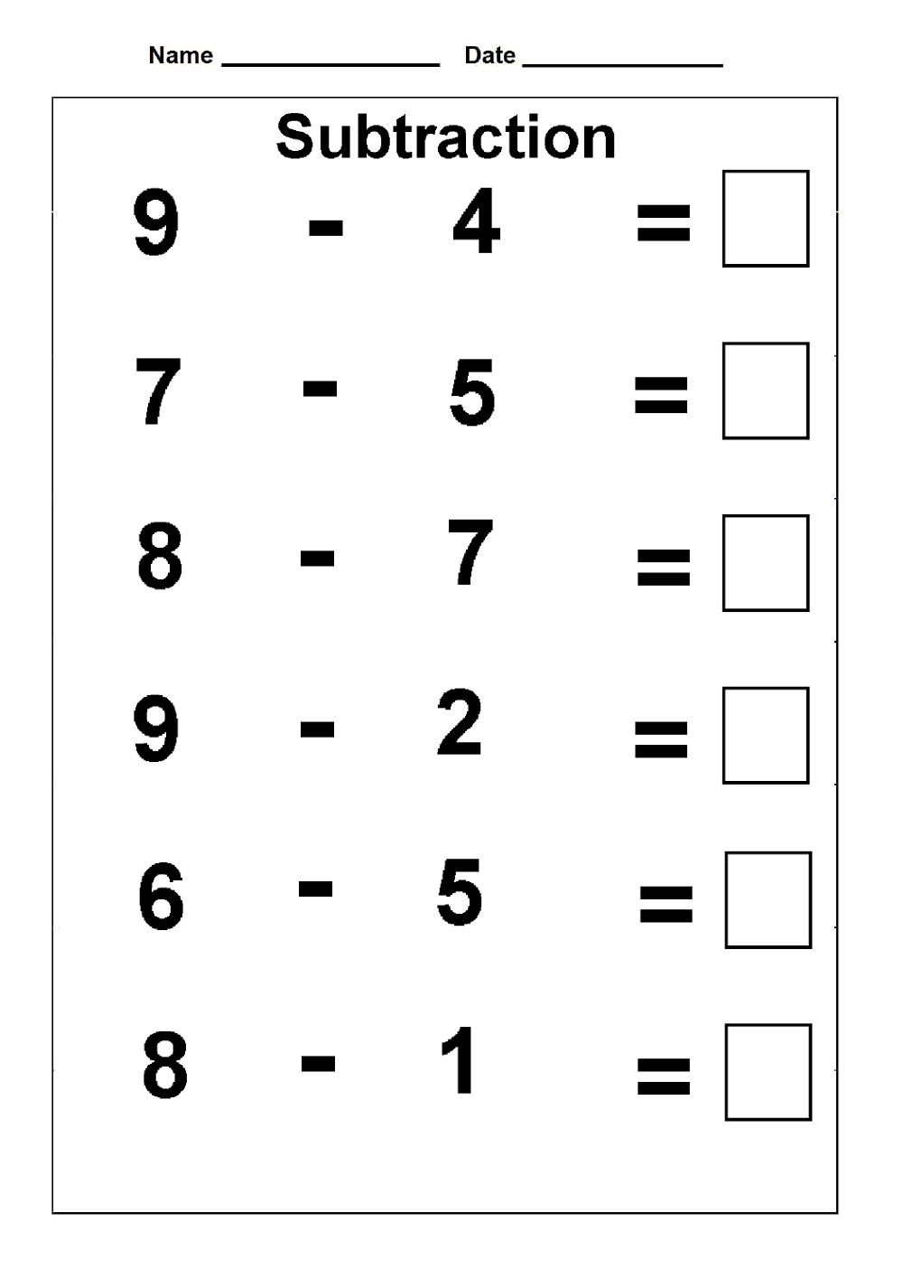 Kindergarten Math Worksheet Substraction