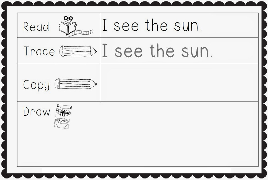 Kindergarten Writing Worksheets Sentences