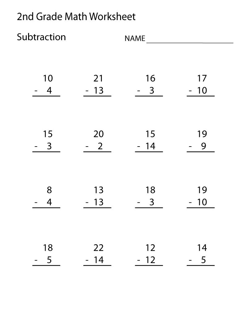 Math Worksheets for Grade 2 Subtraction