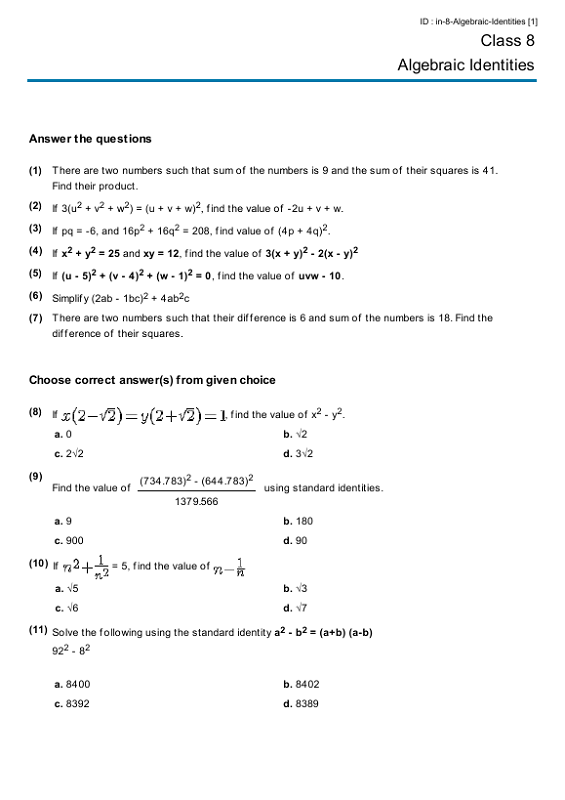 Year 8 Maths Worksheets Algebraic