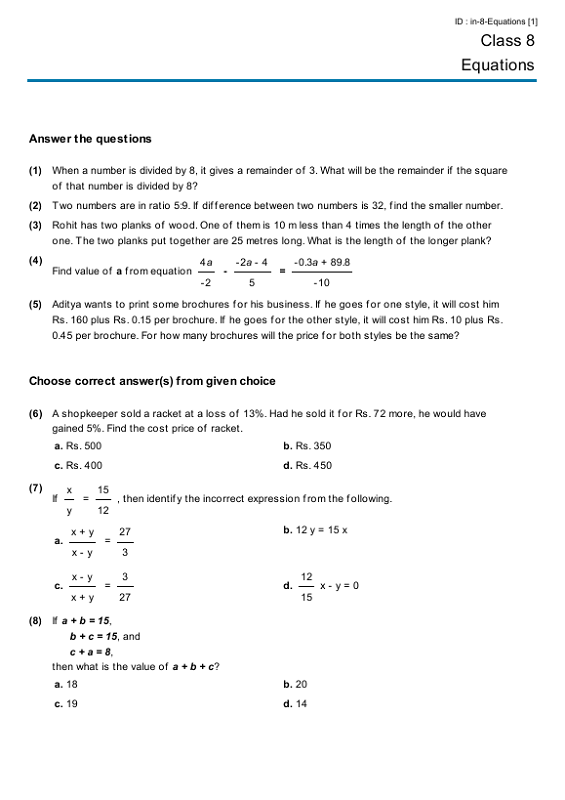 Year 8 Maths Worksheets Equation