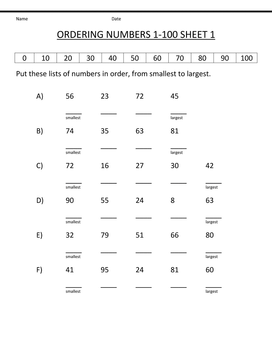 1st Grade Math Worksheets Ordering Numbers