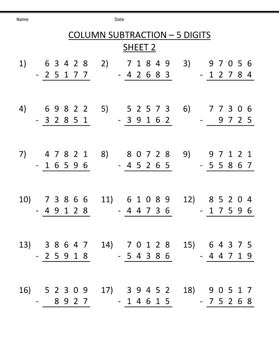 4th Grade Math Worksheets Subtraction
