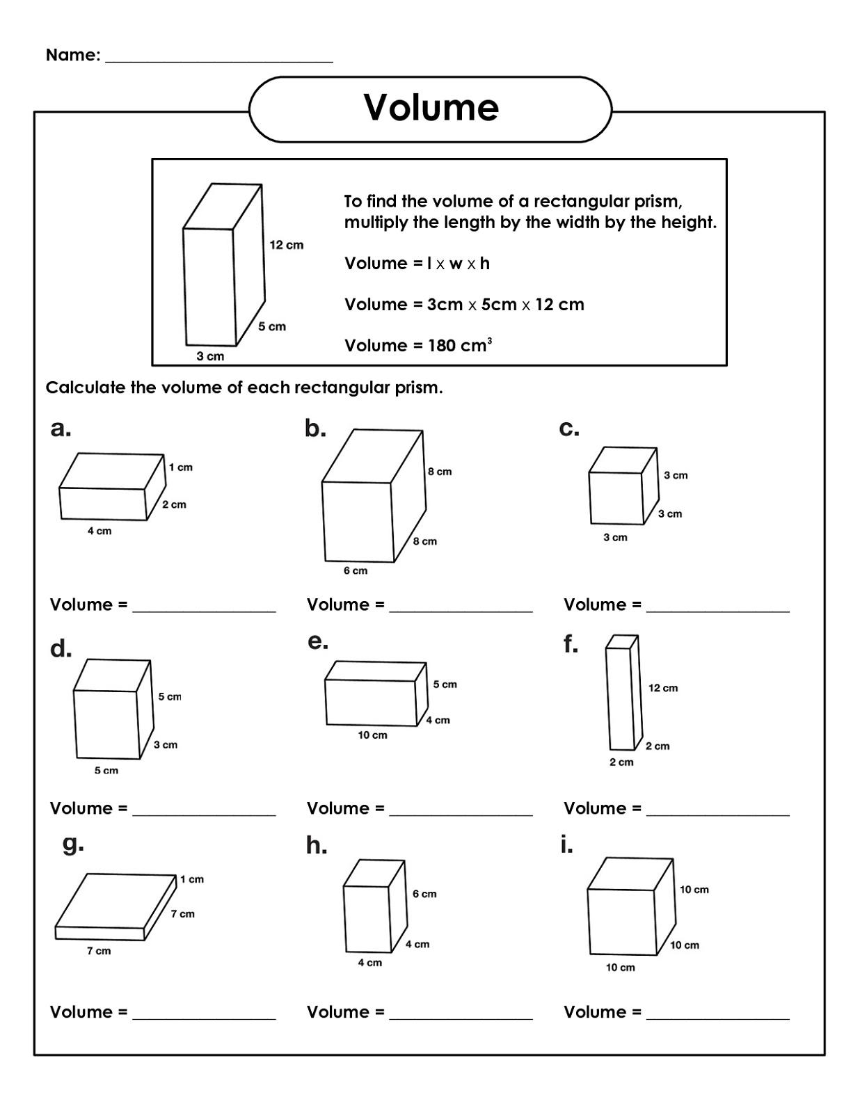 5th Grade Math Worksheets Volume