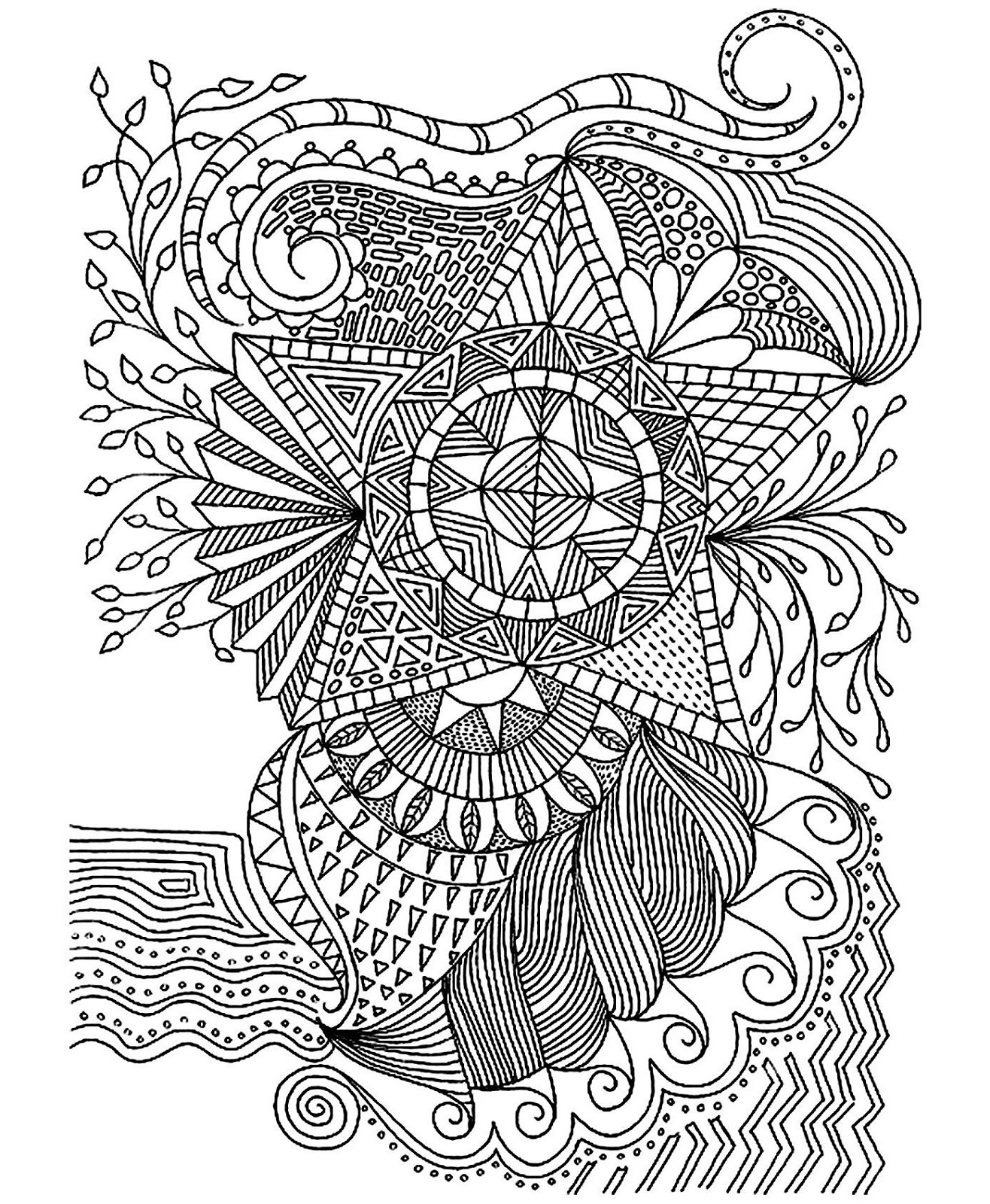 Adult Coloring Pages Stars Pattern