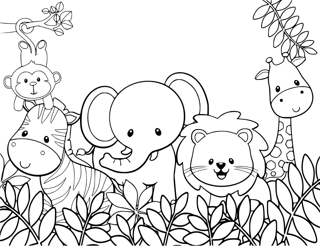 Animal Coloring Pages Baby Forest