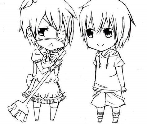 Anime Couple Coloring Pages Chibi