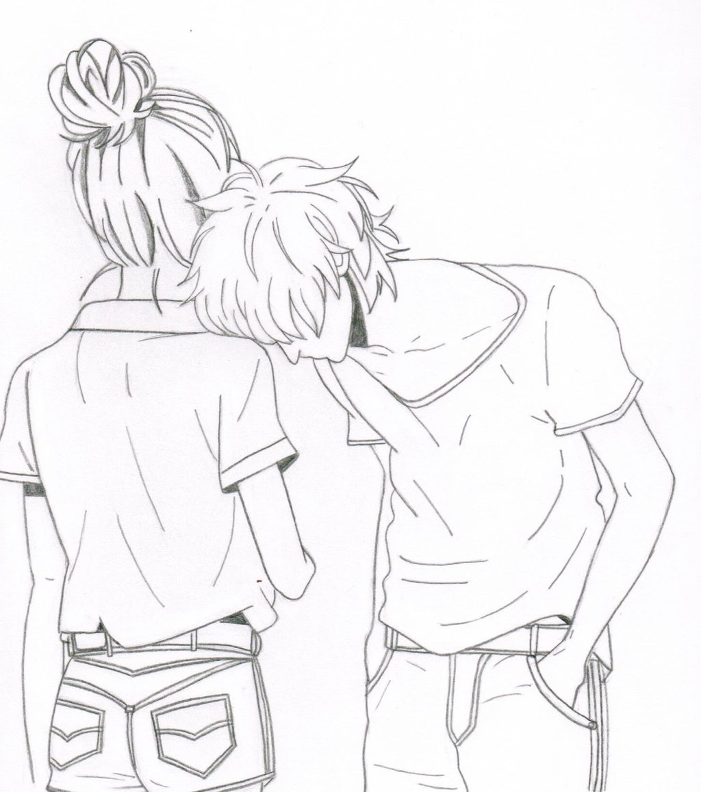 Anime couple coloring pages cute