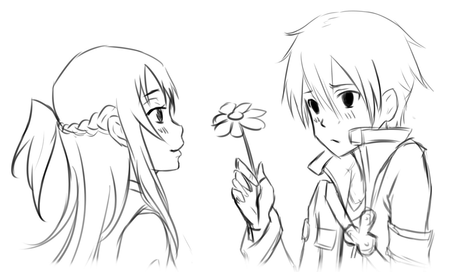 Anime Couple Coloring Pages Kirito Asuna