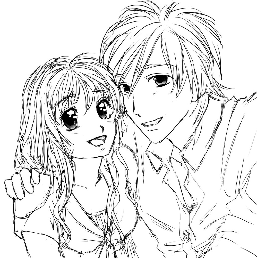 Anime Couple Coloring Pages Manga