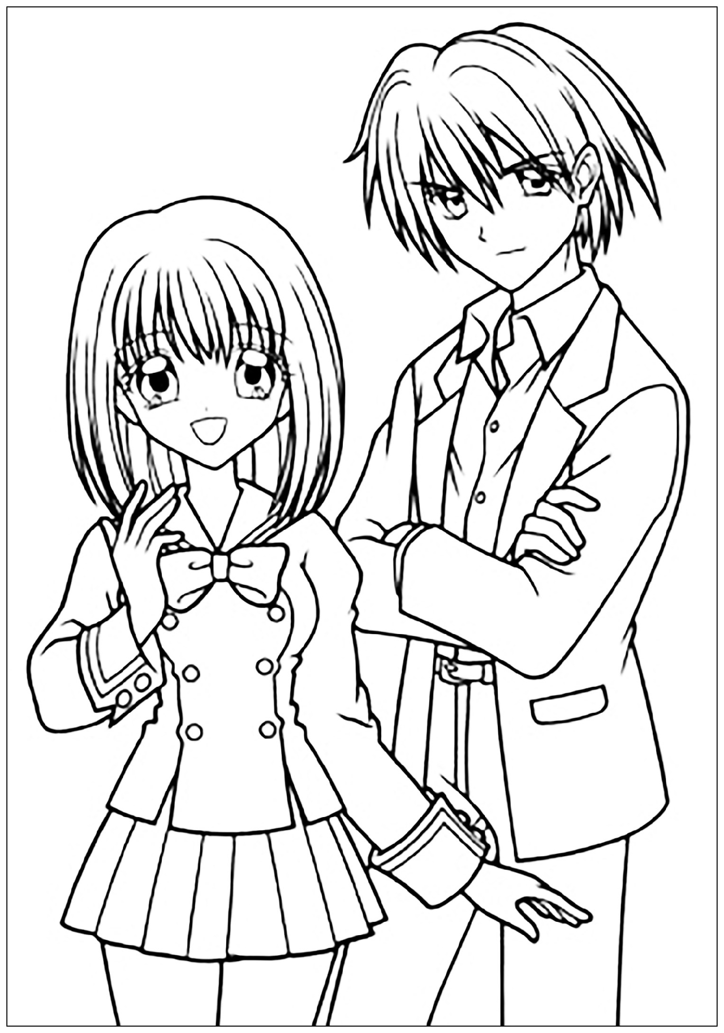 Anime Couple Coloring Pages School