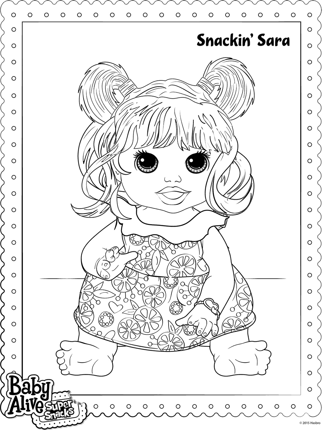 Baby Alive Coloring Pages Snackin Sara