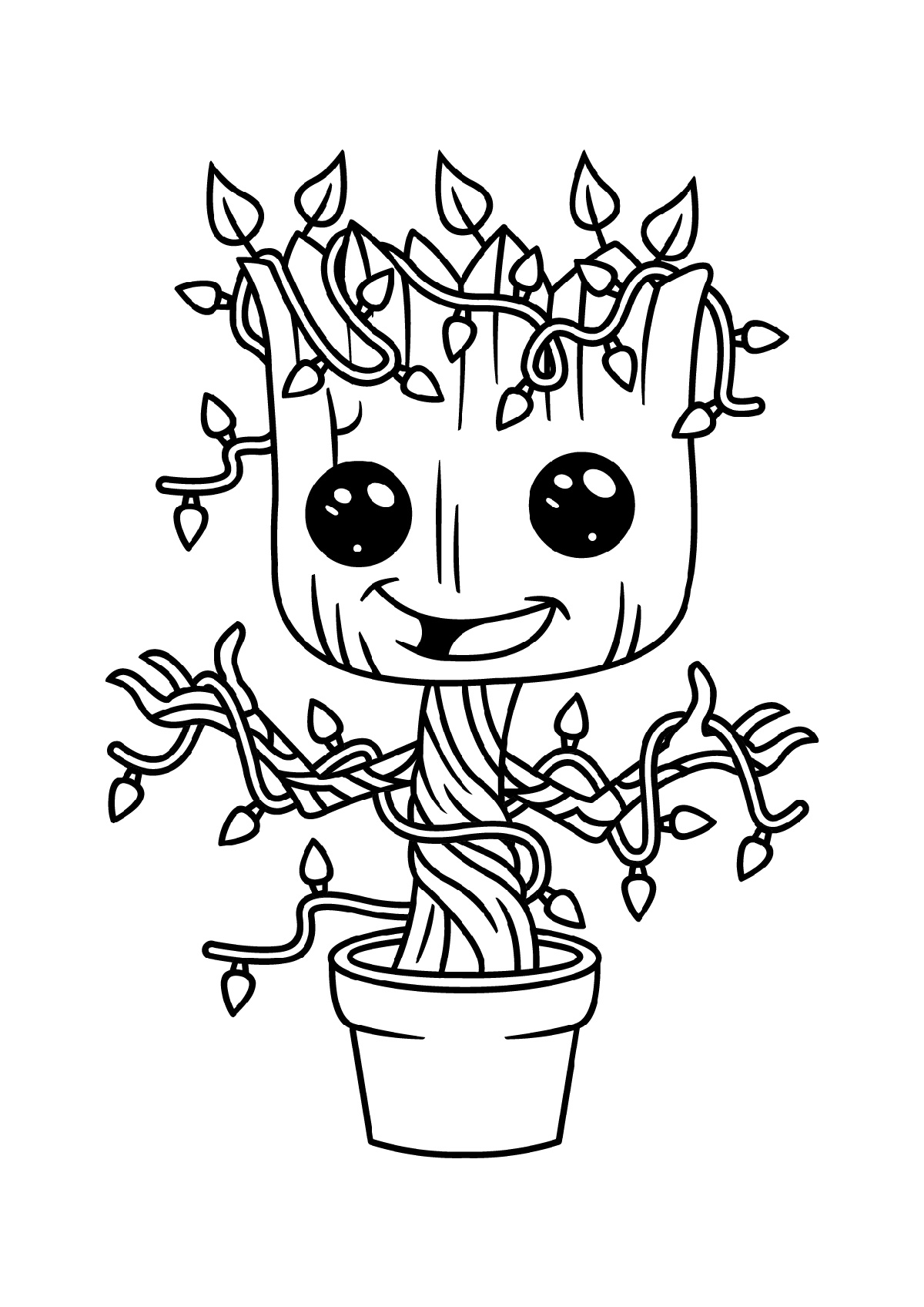 Baby Groot Coloring Page Christmas