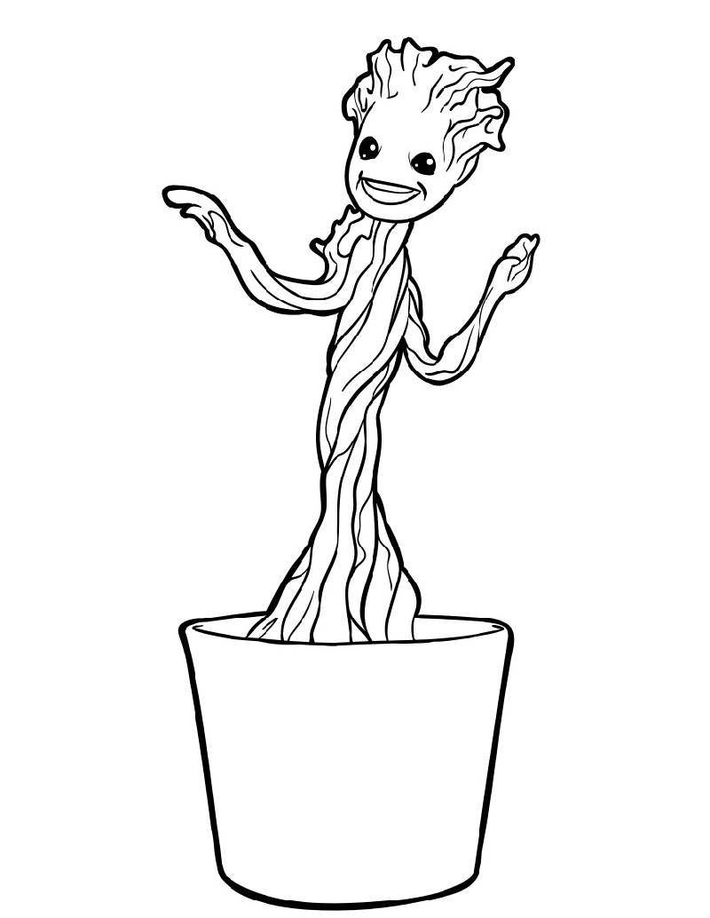 Baby Groot Coloring Page For Kids