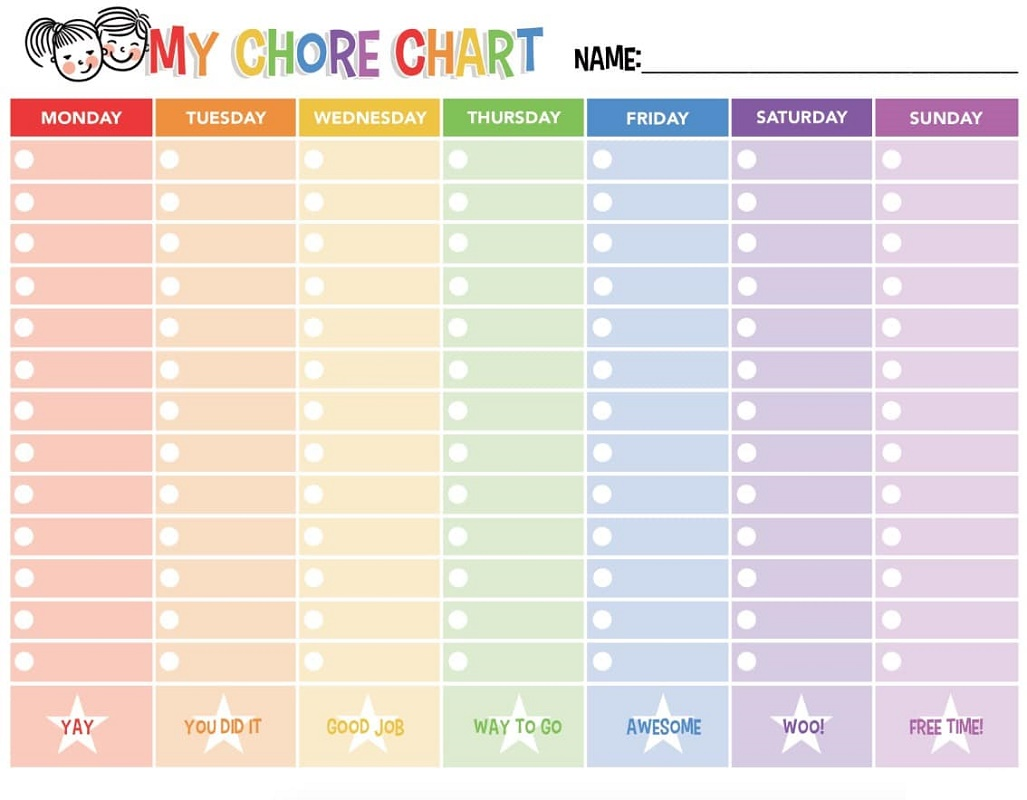 Chore Reward Chart for Kids