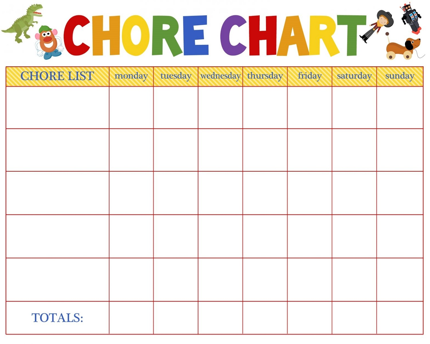Chore Reward Chart for Preschooler