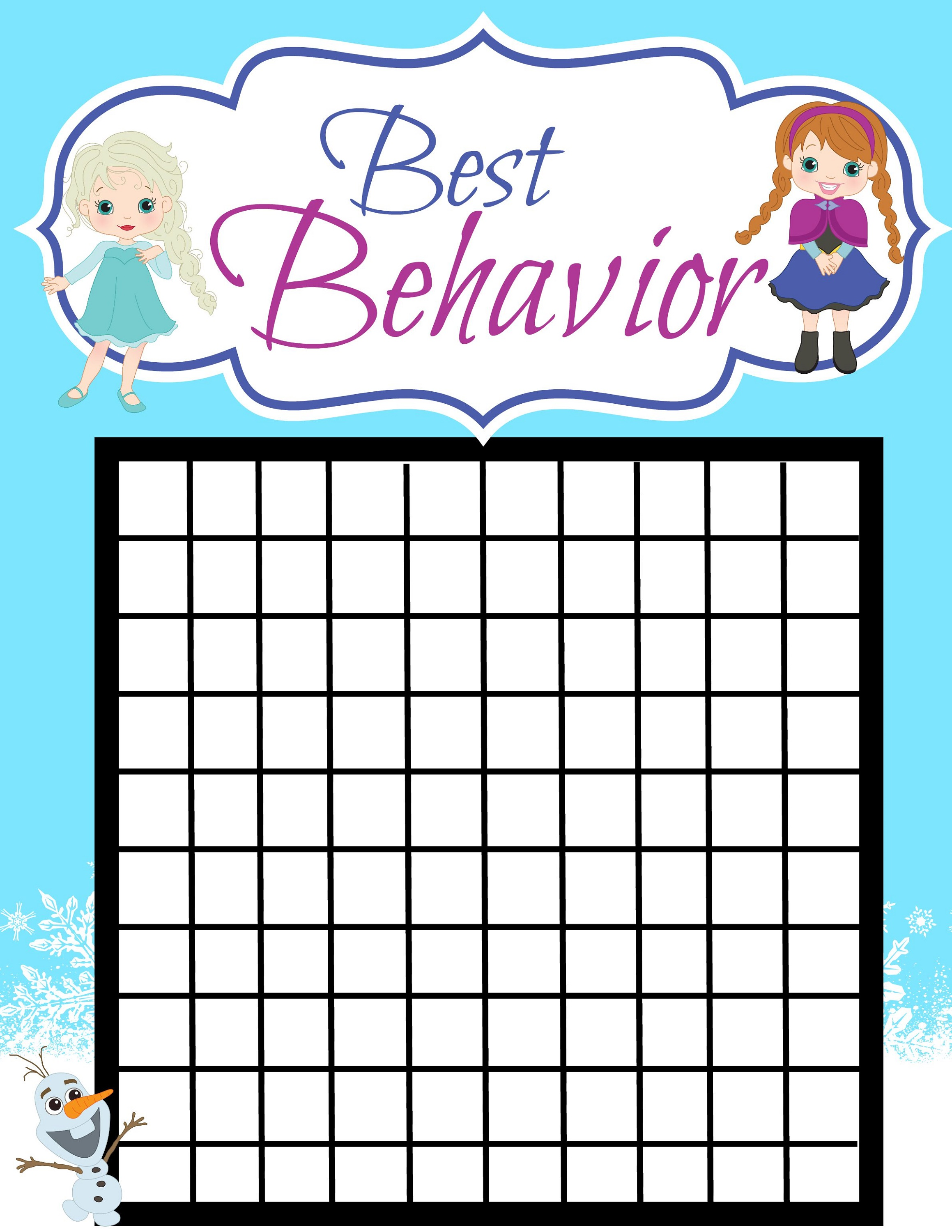 Good Behavior Reward Chart