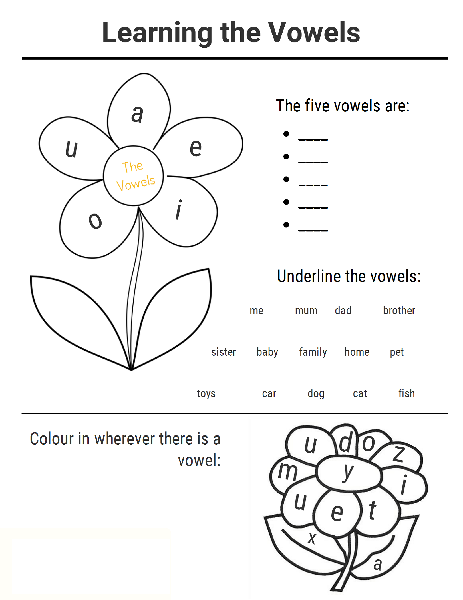Ks1 Worksheets Vowels