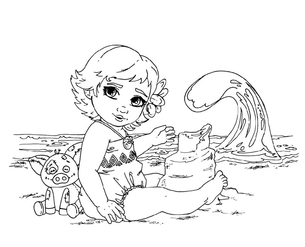 Moana Coloring Pages Baby