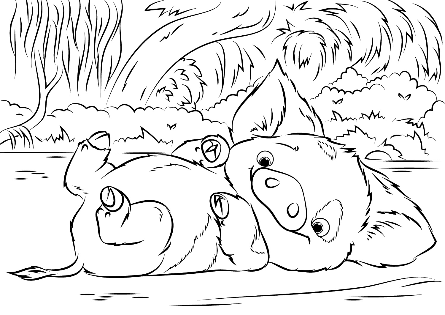 Moana Coloring Pages Pig K5 Worksheets