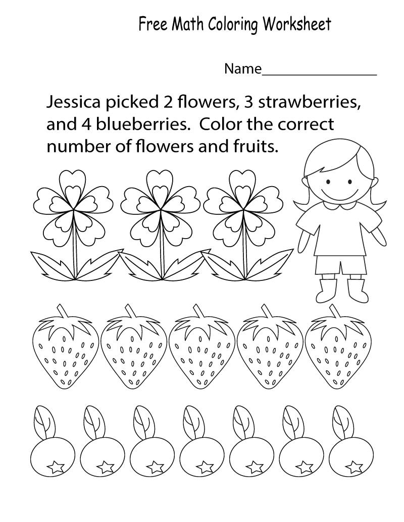 Preschool Math Worksheets Colour
