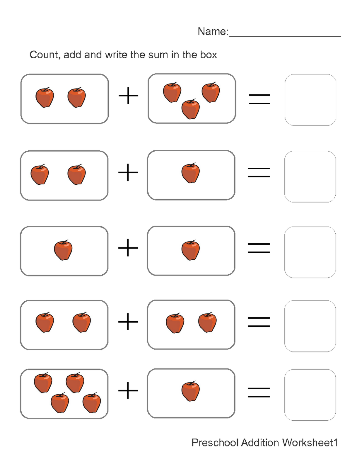Preschool Printables Math