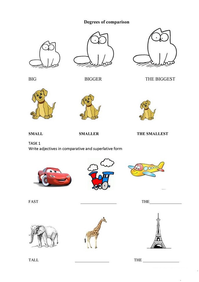 Printable Activity Sheets for Kids Comparing