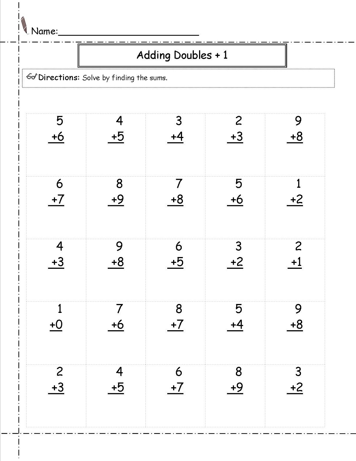 Printable Math Worksheets for 1st Grade Double