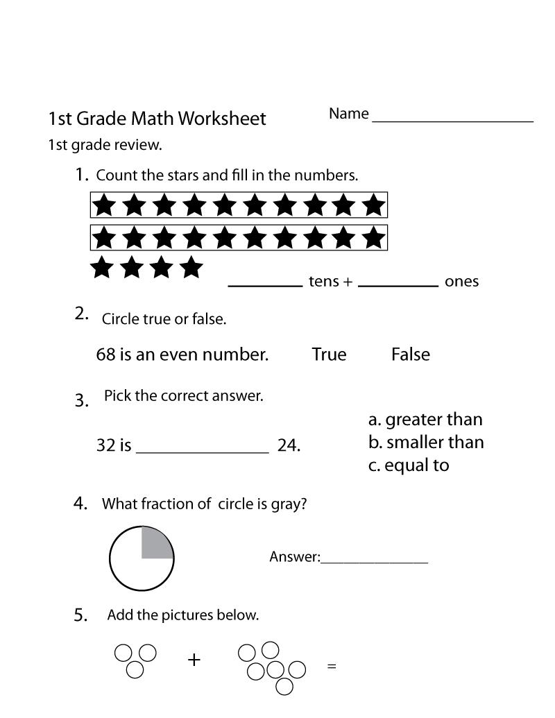 Printable Math Worksheets for 1st Grade Free