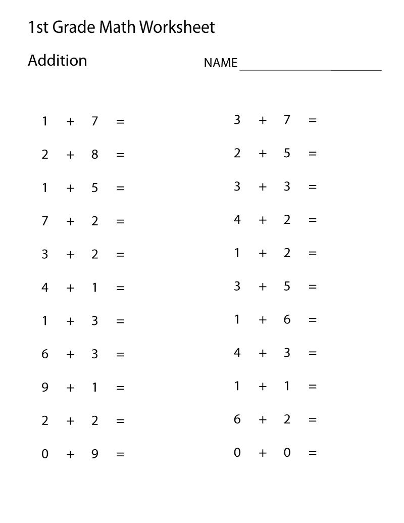 Printable Math Worksheets for 1st Grade Sheet